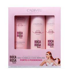 Cadiveu essentials kit de limpeza & cuidados diarios boca rosa hair (3 produtos)