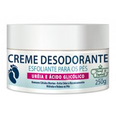 Flores & Vegetais creme desodorante esfoliante para os pés ureia e acido glicólico 250g