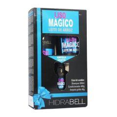 Hidrabell Kit Liso Mágico Shampoo 500ml Condicionador 400g Ampola 40g Leite de Arroz