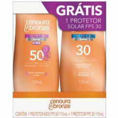 Cenoura & Bronze Kit Kids Protetor Solar 110ml FPS 50 + Protetor Solar 110ml FPS 30