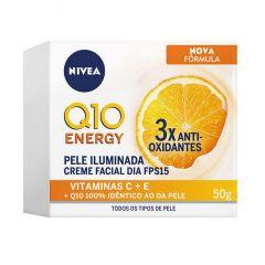 Nivea Q10 Energy Pele Iluminada Creme Facial FPS 15 50g 3x Antioxidantes