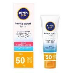 Nivea Sun Beauty Expert Facial Protetor Solar Hidratante com Q10 50g FPS 50 Pele Normal a Seca