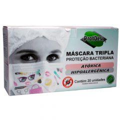 ProtDesc Máscara Tripla Descartável Proteção Bacteriana Atóxica Hipoalergênica 20 un.