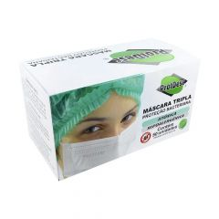 ProtDesc Máscara Tripla Descartável Proteção Bacteriana Atóxica Hipoalergênica 50 un. Branca