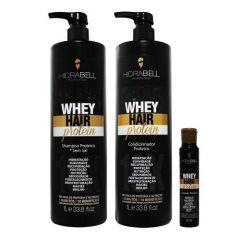Hidrabell Kit Whey Hair Protein Shampoo Condicionador Ampola 1L/1L/40g